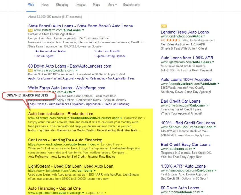 Google-Organic-Search-Results-Auto-Loan