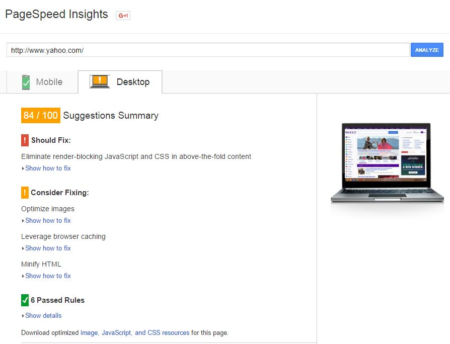 Google Page Speed Desktop Test for www.yahoo.com