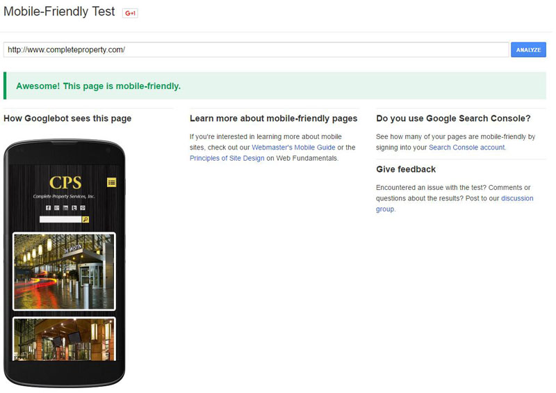 Complete Property Mobile Friendly Test Results
